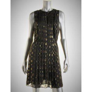 NEW Michael Kors Metallic Gold Polka Dot Dress XS